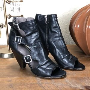 Vince Camuto Black Leather Open Toe Ankle Boots